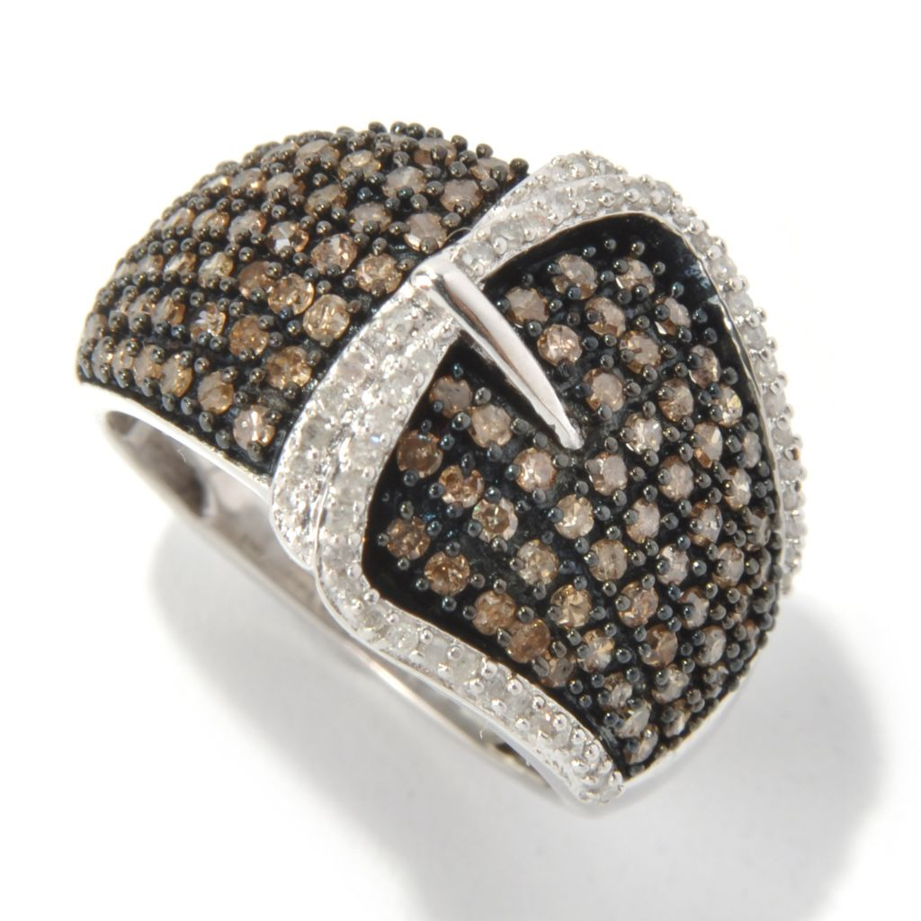 131-323 - Diamond Treasures Sterling Silver 1.00ctw White & Color Diamond Buckle Ring