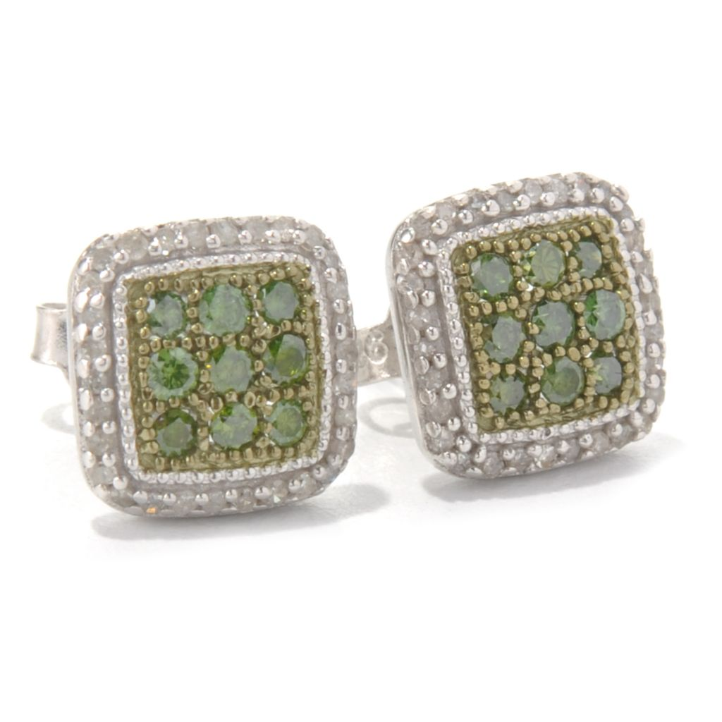 131-324 - Diamond Treasures Sterling Silver 0.50ctw Fancy Color Diamond Square Earrings