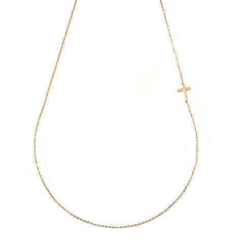 131-356 - Italian Designs with Stefano 14K Gold 18'' Single Cross Station Necklace