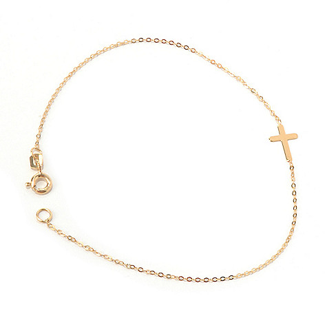 131-357 - Italian Designs with Stefano 14K Gold 7.5'' Polished Cross Bracelet