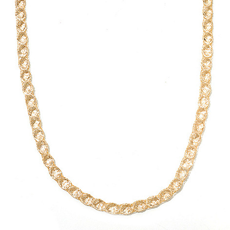 131-371 - Italian Designs with Stefano 14K Gold 18'' Rock Crystal Mesh Necklace