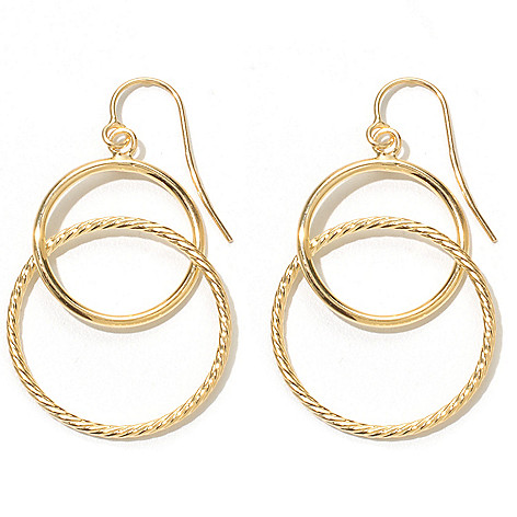 131-377 - Italian Designs with Stefano 14K Gold 1.25'' Graduated Circle Drop Earrings