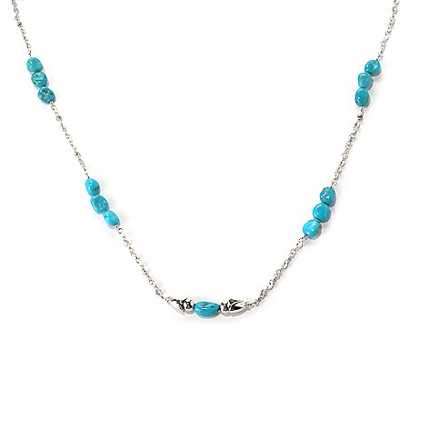 131-380 - Gem Insider® Sterling Silver 32.25'' Sleeping Beauty Turquoise Station Necklace