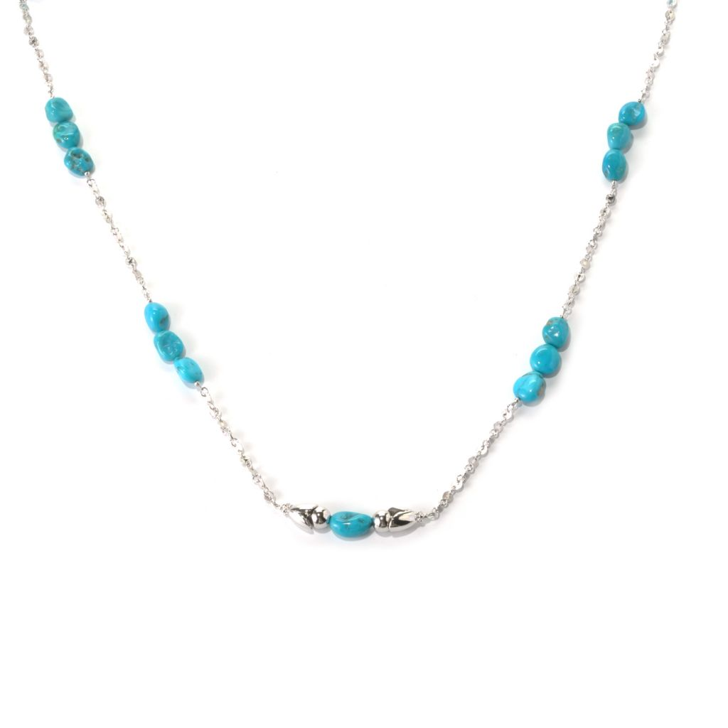"131-380 - Gem Insider Sterling Silver 32.25"" Sleeping Beauty Turquoise Station Necklace"
