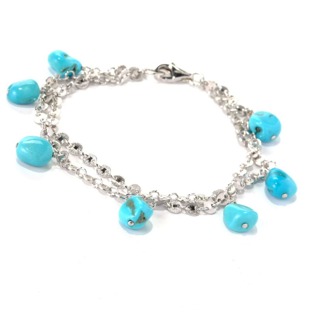 "131-381 - Gem Insider Sterling Silver 9"" Sleeping Beauty Turquoise Double Chain Bracelet"