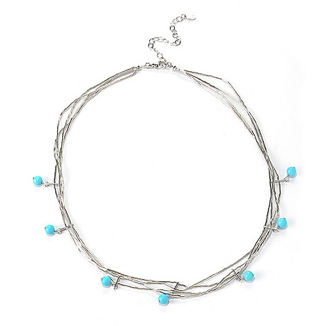 131-382 - Gem Insider Sterling Silver 18'' Sleeping Beauty Turquoise Three-Strand Necklace