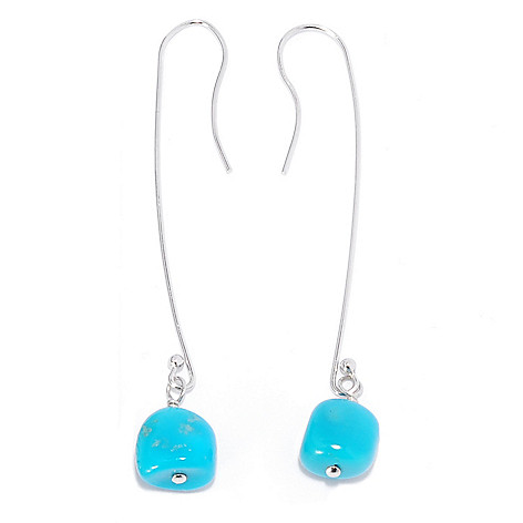 131-387 - Gem Insider Sterling Silver 2.5'' Sleeping Beauty Turquoise Dangle Earrings