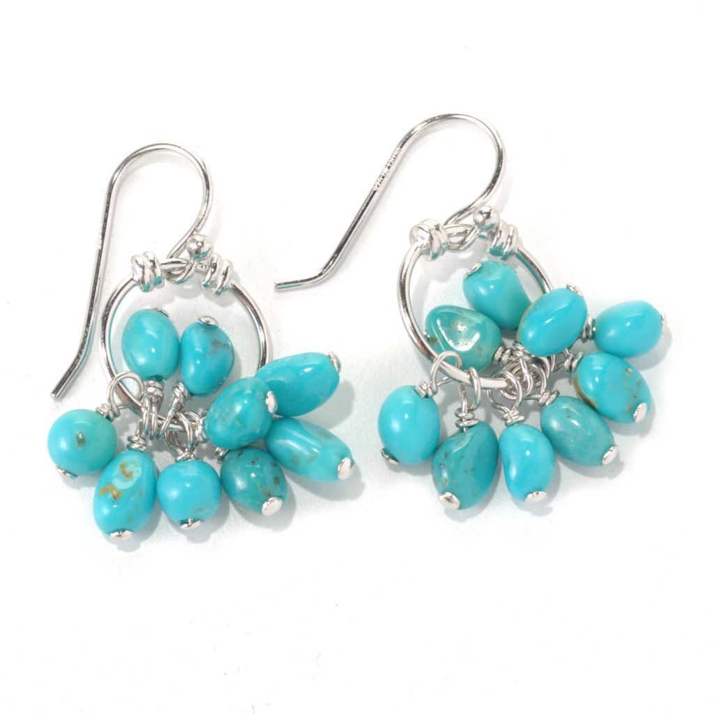"131-388 - Gem Insider Sterling Silver 1.25"" American Turquoise Cluster Drop Earrings"