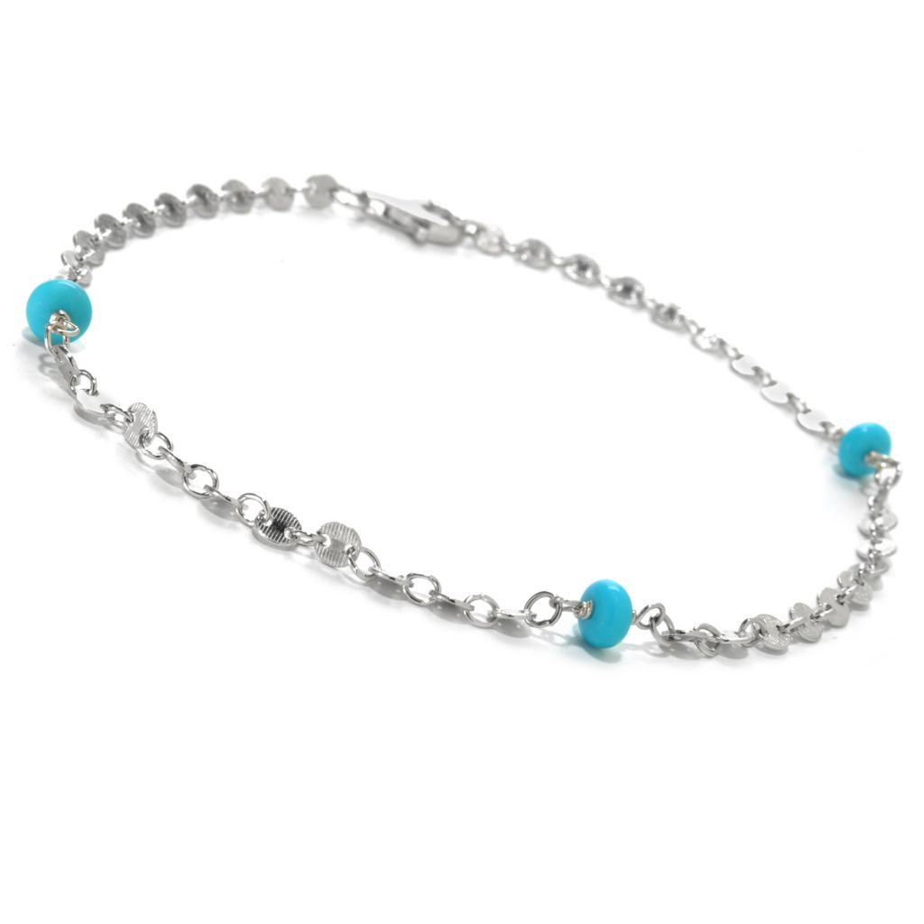 "131-389 - Gem Insider Sterling Silver 10.75"" 5mm Round Sleeping Beauty Turquoise Anklet"