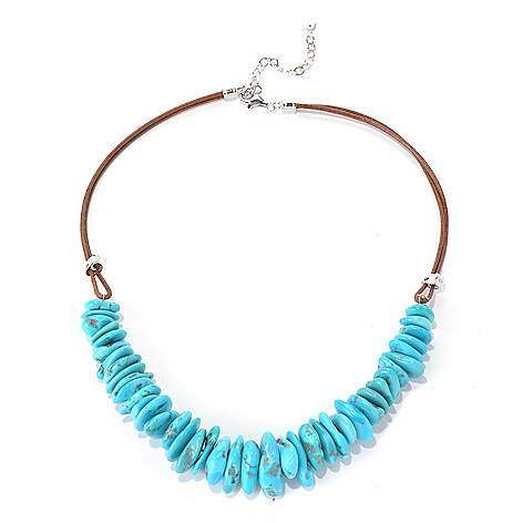 131-392 - Gem Insider Sterling Silver & Leather 18'' Freeform American Turquoise Necklace