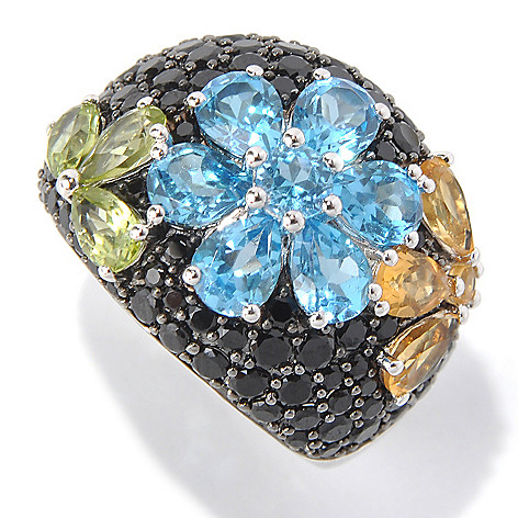 131-396 - Gem Treasures Sterling Silver 5.00ctw Spinel & Multi Gemstone Flower Ring