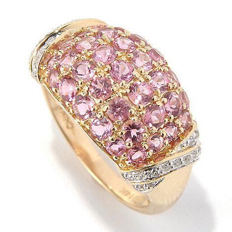 131-398 - Gem Treasures 14K Gold 1.48ctw Pink Tourmaline & Diamond Wide Ring