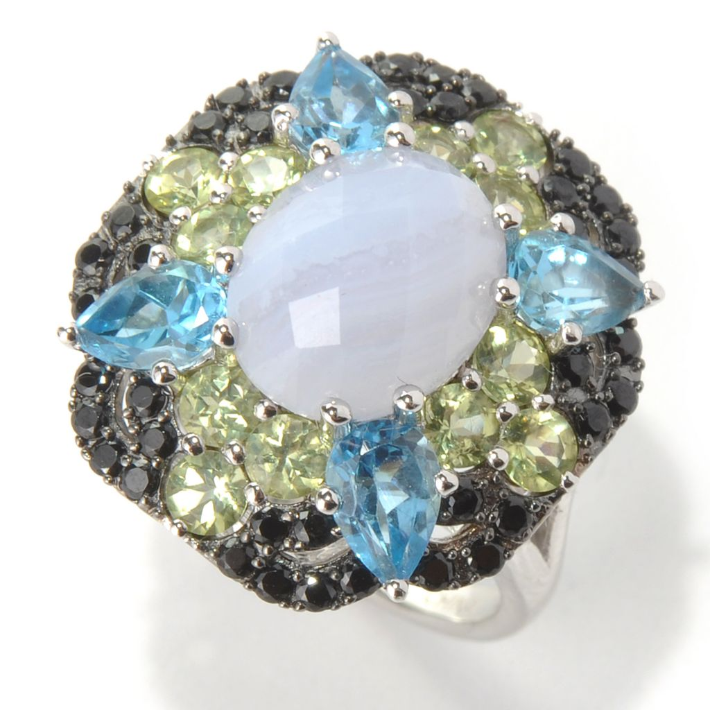 131-401 - Gem Insider Sterling Silver Blue Lace Agate & Multi Gemstone Geometric Ring