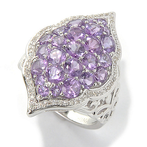 131-403 - Gem Insider Sterling Silver 2.62ctw Amethyst & Diamond Boardered Marquise Ring