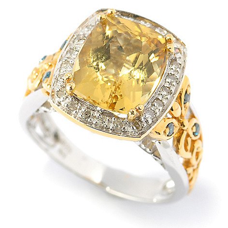 131-477 - The Vault fromGems en Vogue II4.00ctw Canary Beryl & Multi Diamond Ring