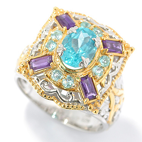 131-479 - The Vault from Gems en Vogue II 2.25ctw Apatite & Amethyst Ring