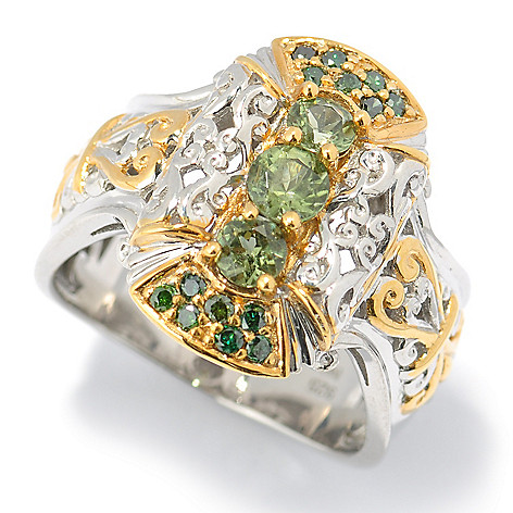131-480 - The Vault from Gems en Vogue II Tashmarine & Green Diamond Three-Stone Ring