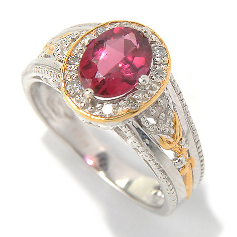 131-485 - The Vault from Gems en Vogue II 1.38ctw Rubellite & Diamond Halo Ring