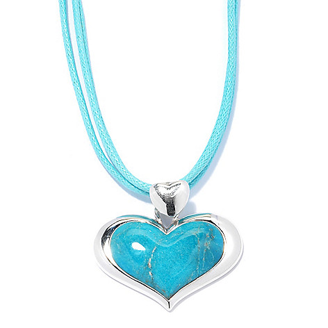 131-497 - Gem Insider Sterling Silver 29 x 17mm Heart Shaped Turquoise Pendant w/ Cord