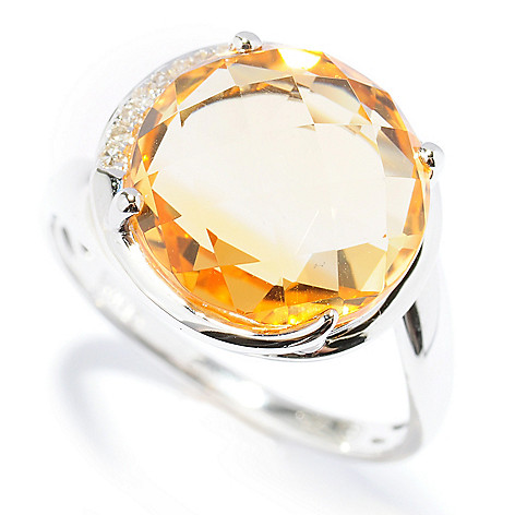 131-501 - Gem Insider Sterling Silver 4.86ctw Citrine & Diamond Semi-Halo Wrap Around Ring