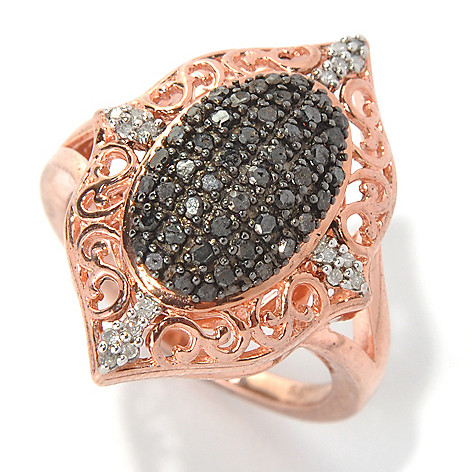 131-513 - 14K Rose Gold Embraced™ 0.50ctw Black & White Diamond Marquise Ring