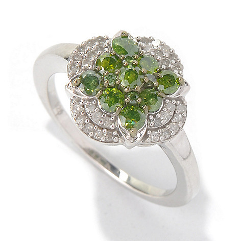 131-517 -  Sterling Silver 0.90ctw Green & White Diamond Flower Ring