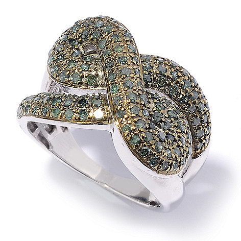 131-518 - Diamond Treasures Sterling Silver 1.02ctw Round Green Diamond Double Knot Ring