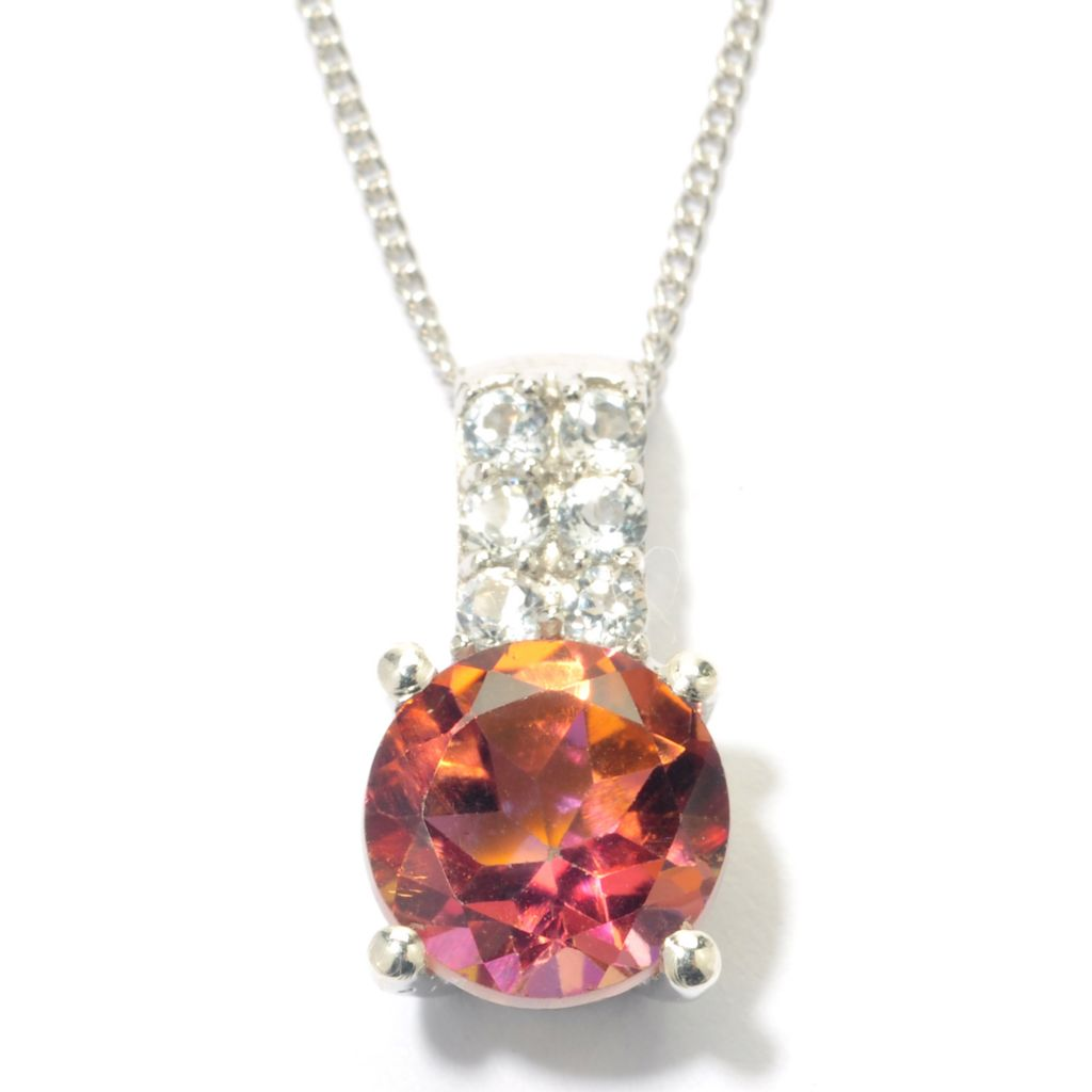 "131-527 - Gem Treasures Sterling Silver 2.07ctw Color & White Topaz Drop ""Kellie Anne"" Pendant w/ Chain"