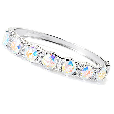 131-528 - Gem Treasures® Sterling Silver 15.44ctw Topaz ''Kellie Anne'' Bangle Bracelet