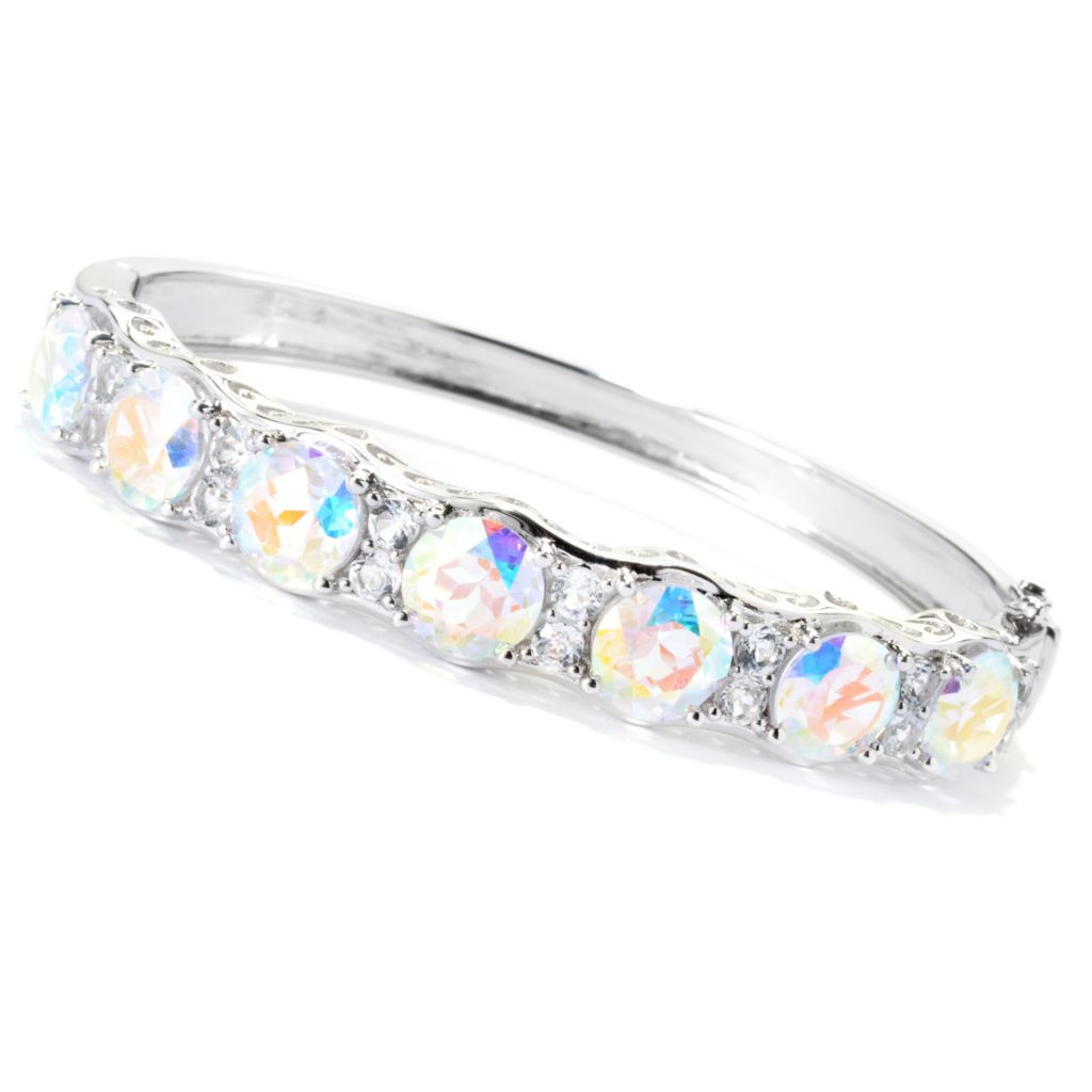 "131-528 - Gem Treasures Sterling Silver 15.44ctw Topaz ""Kellie Anne"" Bangle Bracelet"