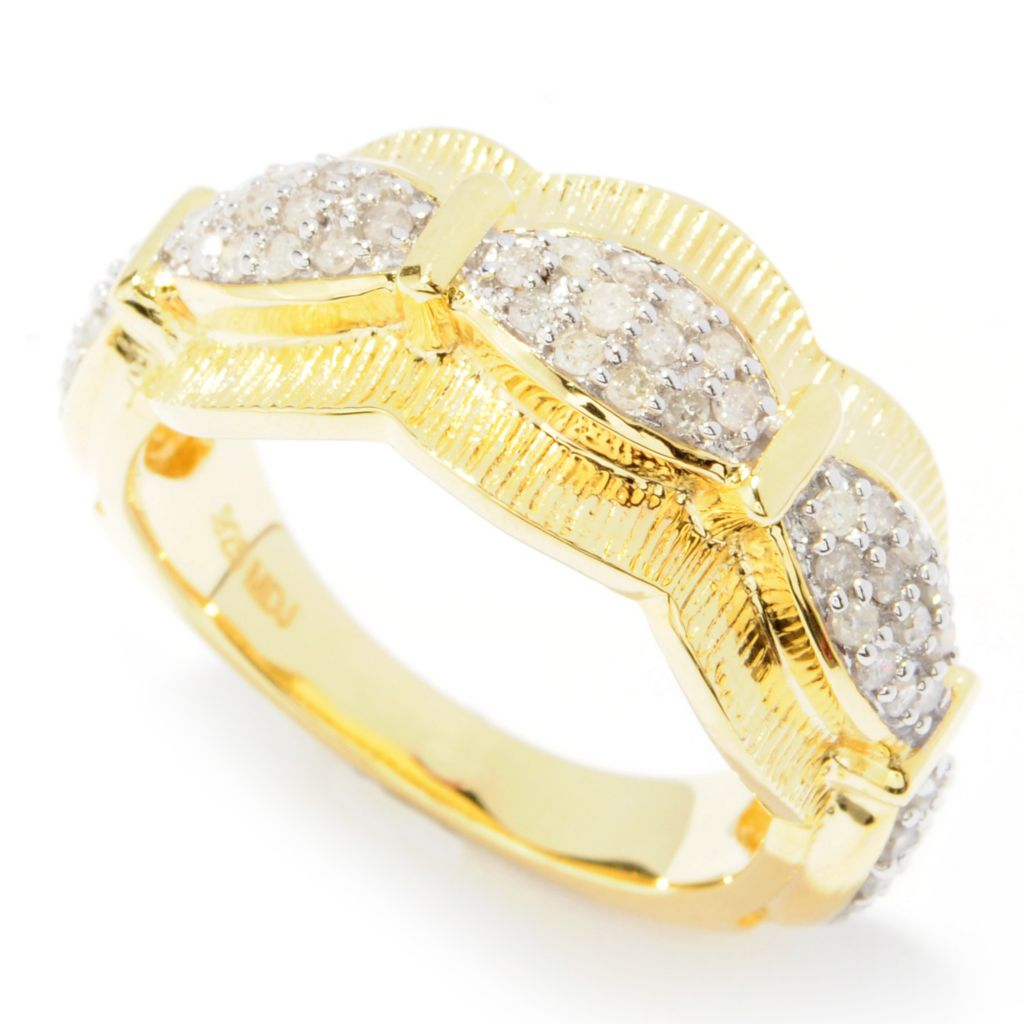 131-530 - Southport Diamonds Sterling Silver & 14K Vermeil 0.48ctw Diamond Five-Station Ring