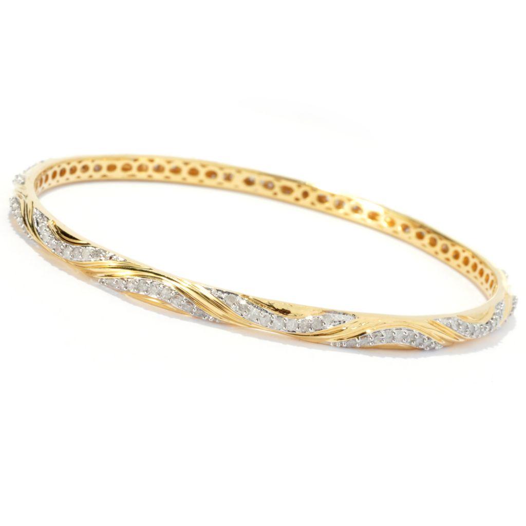 131-533 - Southport Diamonds Sterling Silver & 14K Vermeil Diamond Wave Bangle Bracelet