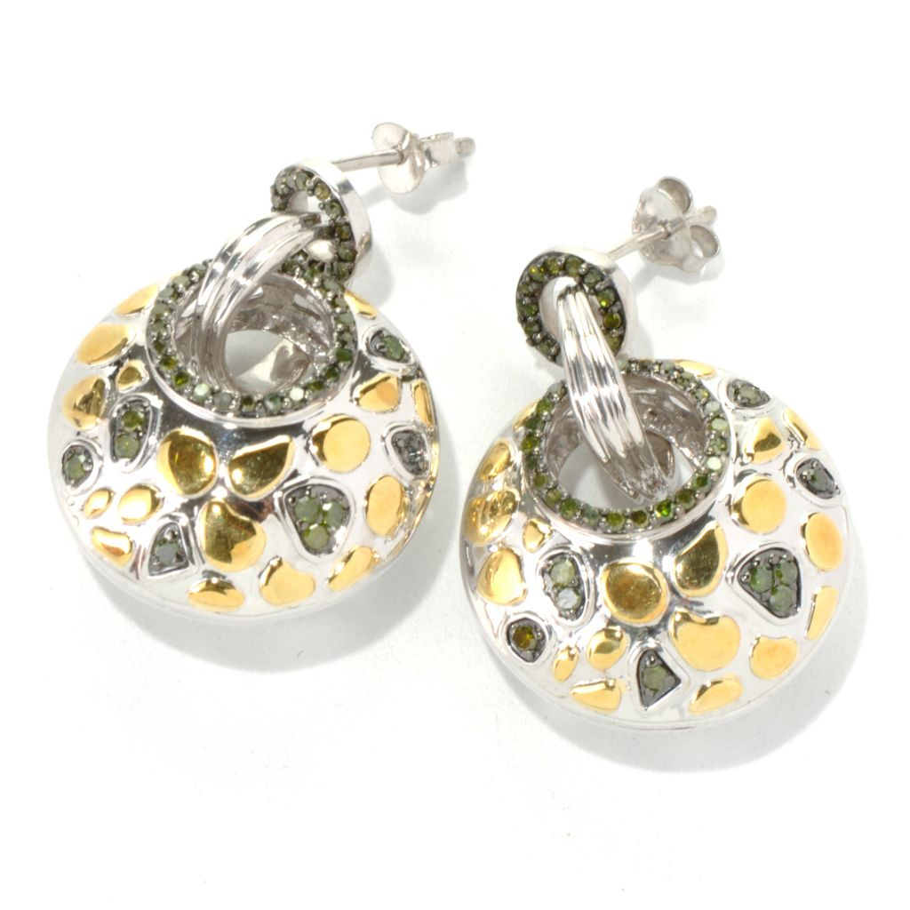 "131-534 - Southport Diamonds Sterling Silver & Gold Embraced™ 1.25"" 0.75ctw Diamond Earrings"