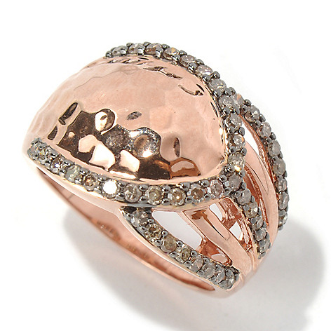 131-537 - Southport Diamonds Sterling Silver & 14K Rose Vermeil 0.50ctw Champagne Diamond Ring