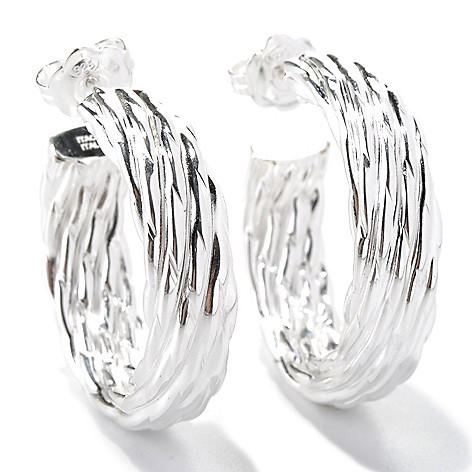 131-542 - SempreSilver® 1'' Textured Hoop Earrings