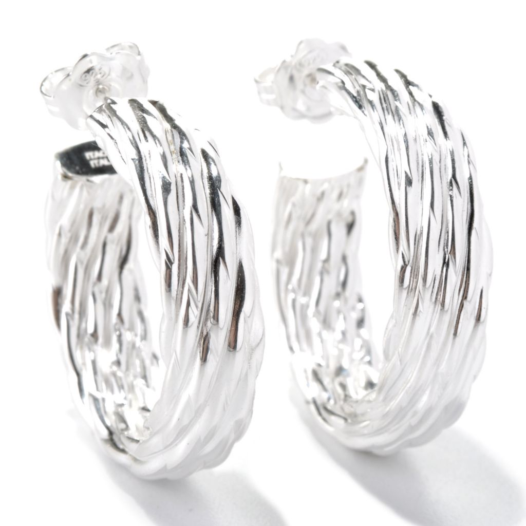 "131-542 - SempreSilver® 1"" Textured Hoop Earrings"
