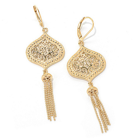 131-557 - Jaipur Bazaar Gold Embraced™ 2.75'' Ornate Beaded Tassel Drop Earrings