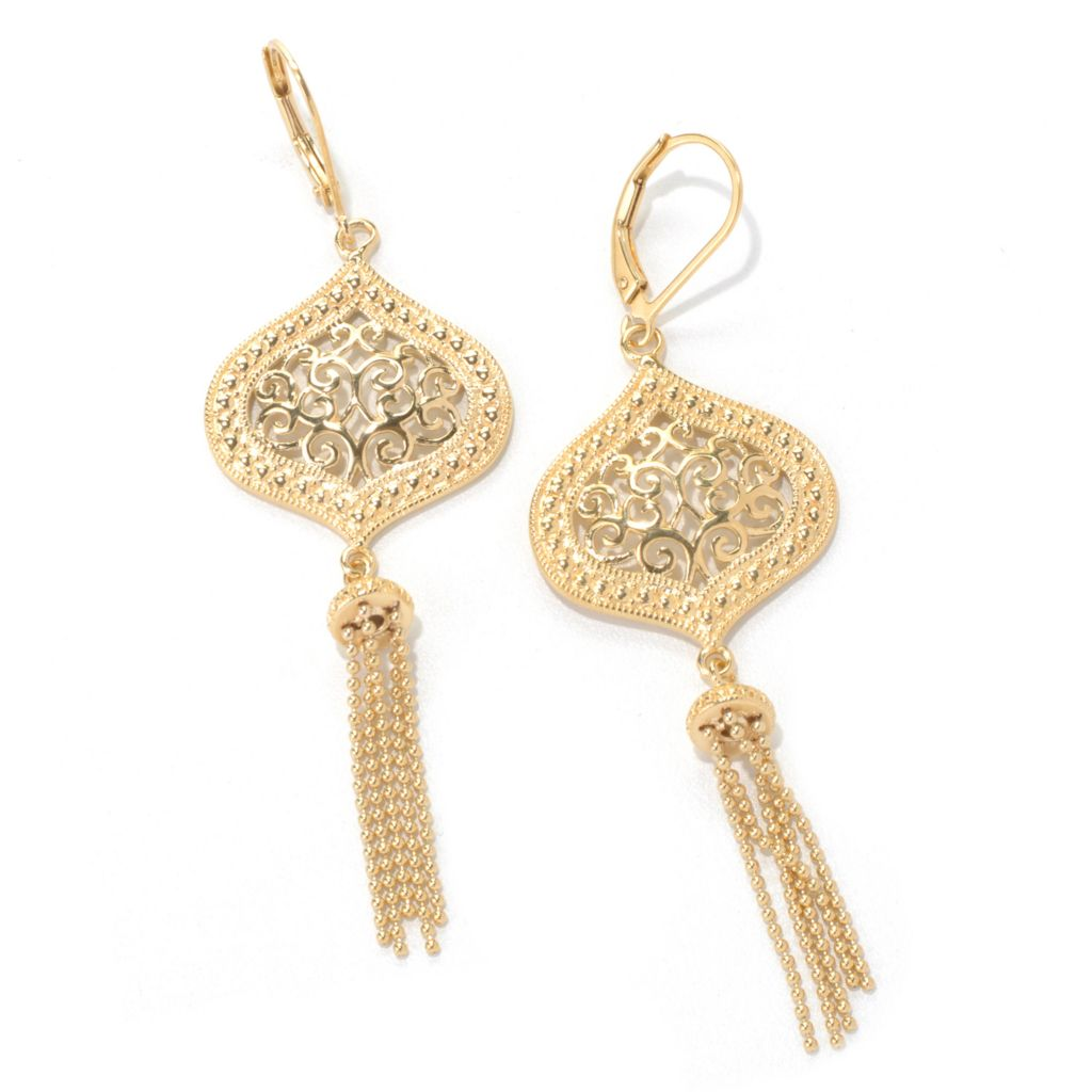 "131-557 - Jaipur Bazaar Gold Embraced™ 2.75"" Ornate Beaded Tassel Drop Earrings"