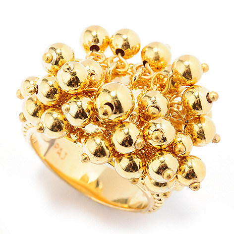 131-558 - Jaipur Bazaar 18K Gold Embraced™ Dangling Bead Textured Ring