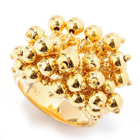131-558 - Jaipur Bazaar 18K Gold Embraced™ Dangling Bead Textured Ring