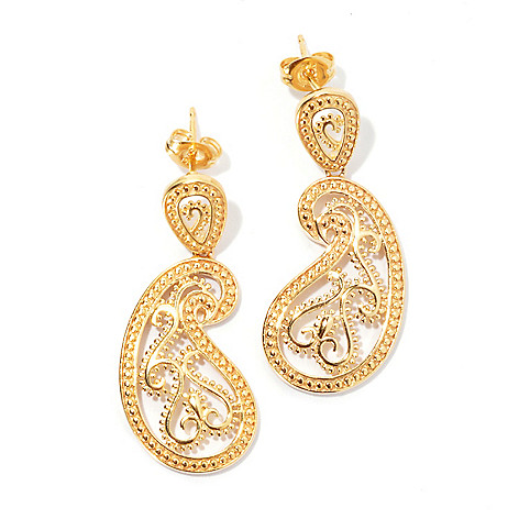131-561 - Jaipur Bazaar Gold Embraced™ 1.25'' Textured Ornate Paisley Drop Earrings