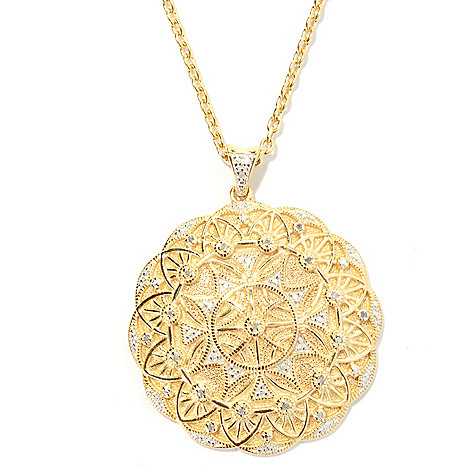 131-564 - Jaipur Bazaar Gold Embraced™ 0.10ctw Diamond Ornate Medallion Pendant w/ Chain