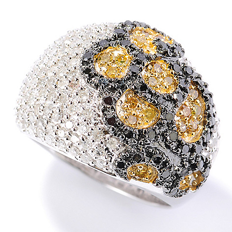 131-571 - Diamond Treasures Sterling Silver 1.50ctw White, Yellow & Black Diamond Dome Ring