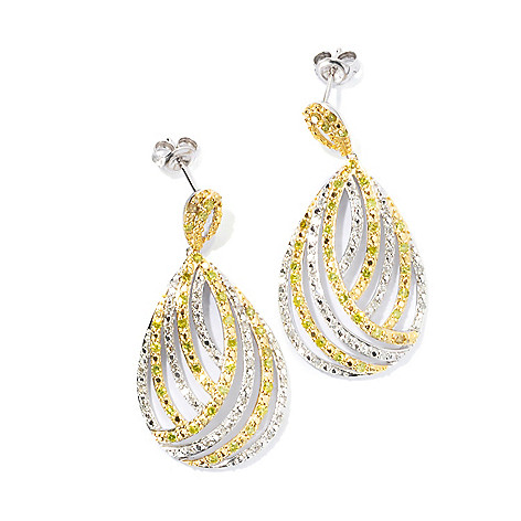 131-574 - Diamond Treasures Sterling Silver 1.5'' 1.00ctw White & Yellow Diamond Drop Earrings