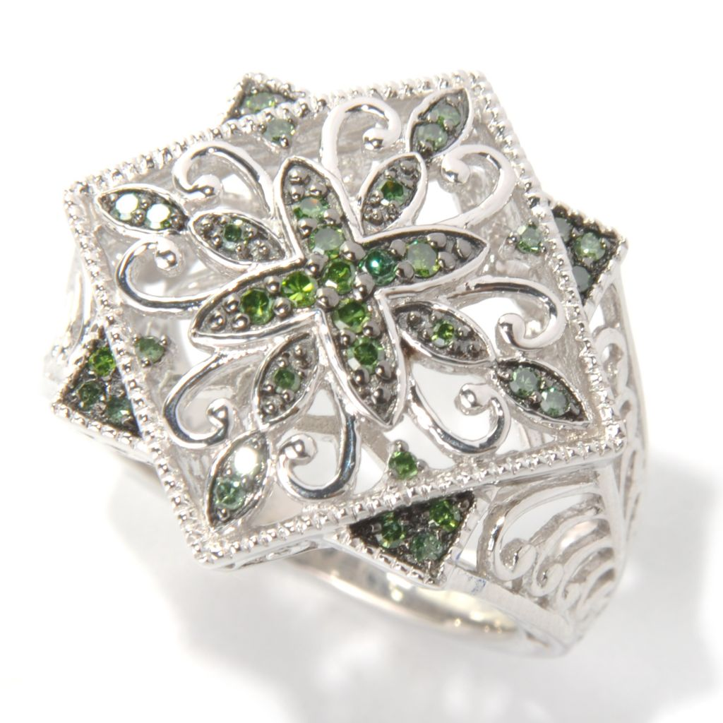 131-578 - Diamond Treasures Sterling Silver 0.25ctw Fancy Color Diamond Scroll Ring