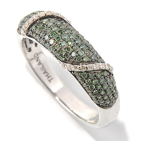 131-579 - Sterling Silver 0.50ctw Green & White Diamond Overlay Band Ring