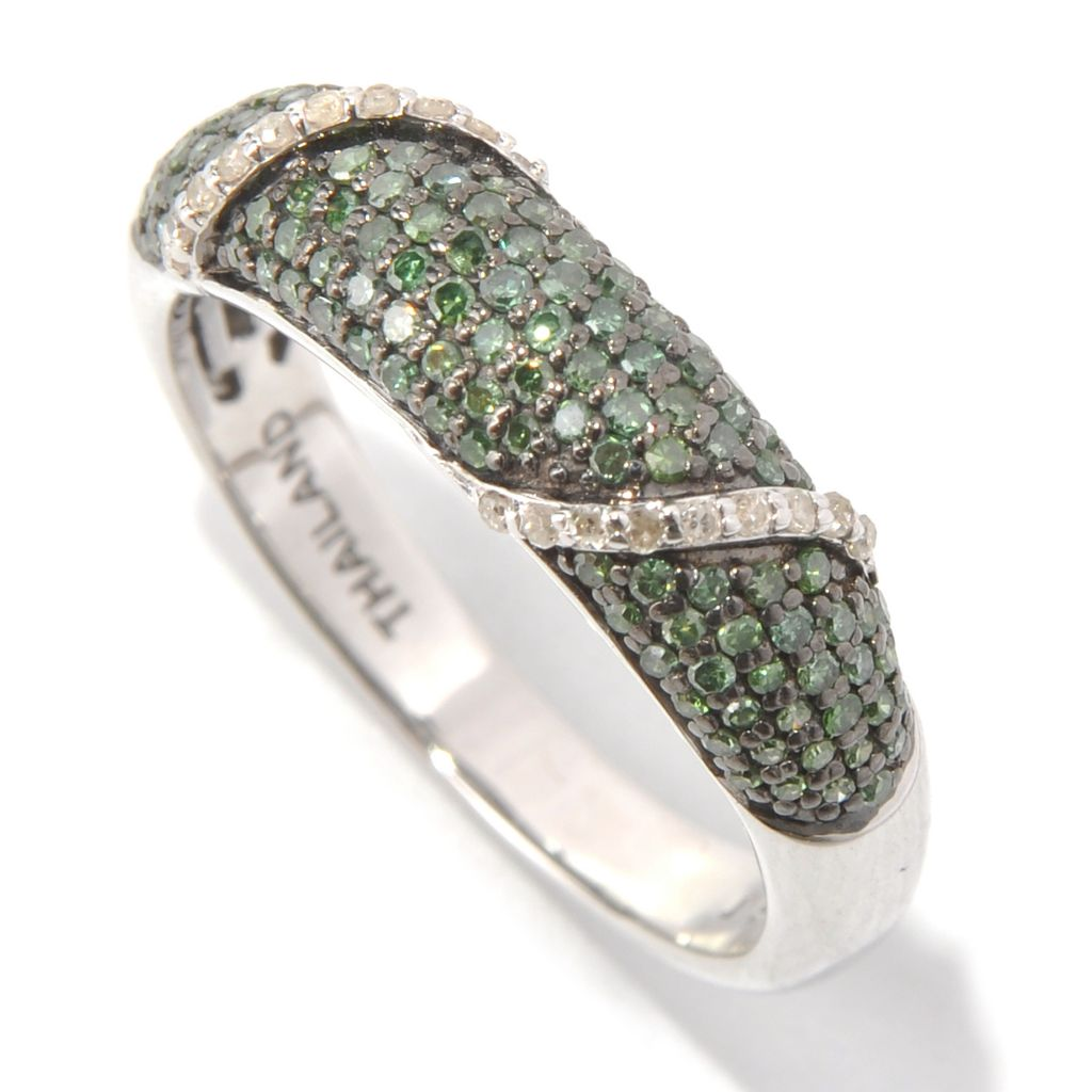 131-579 - Diamond Treasures Sterling Silver 0.50ctw Green & White Diamond Overlay Band Ring