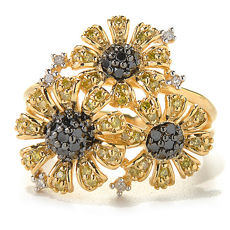 131-580 - Diamond Treasures Gold Embraced™ 0.50ctw Multi Color Diamond Daisy Trio Ring