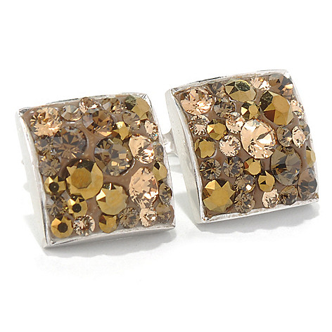 131-582 - Adaire™ Sterling Silver Square Earrings Made w/ Swarovski® Elements