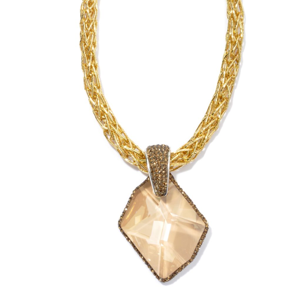 131-583 - Adaire™ Freeform Pendant w/ Metallic Cord Made w/ Swarovski® Elements
